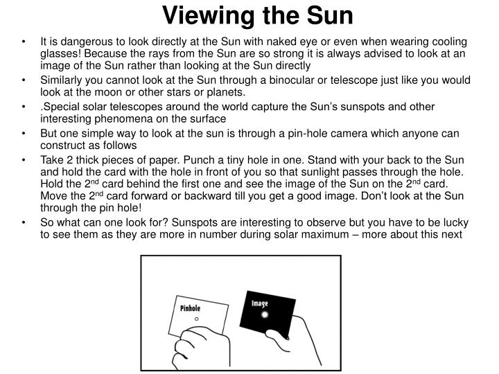 Viewing the Sun