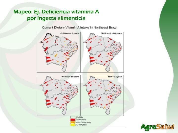 Mapeo: Ej. Deficiencia vitamina A por ingesta alimenticia