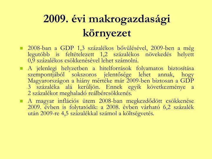 2009. évi makrogazdasági környezet