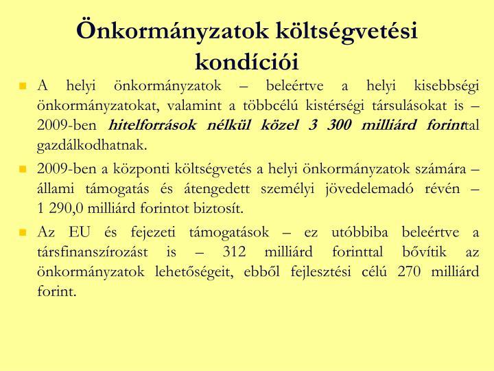 Önkormányzatok költségvetési kondíciói