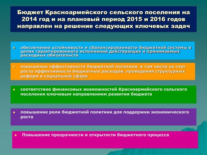 Бюджет Красноармейского сельского поселения на 2014 год и на плановый период 2015 и 2016 годов направлен на решение следующих ключевых задач