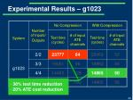 experimental results g10231