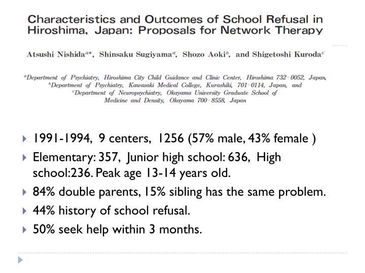 1991-1994,  9 centers,  1256 (57% male, 43% female )