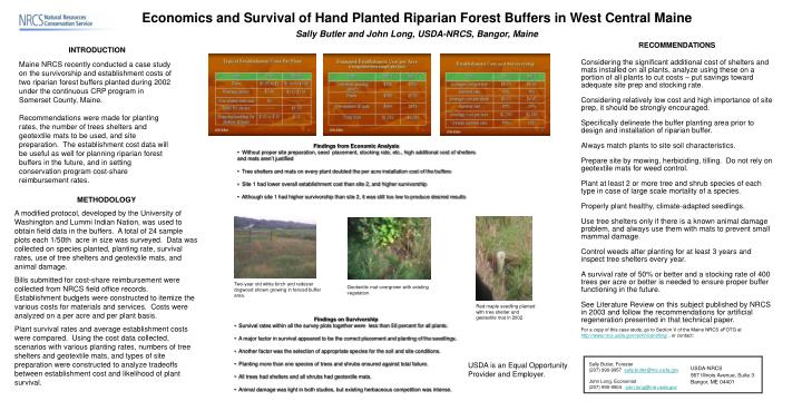 Economics and Survival of Hand Planted Riparian Forest Buffers in West Central Maine