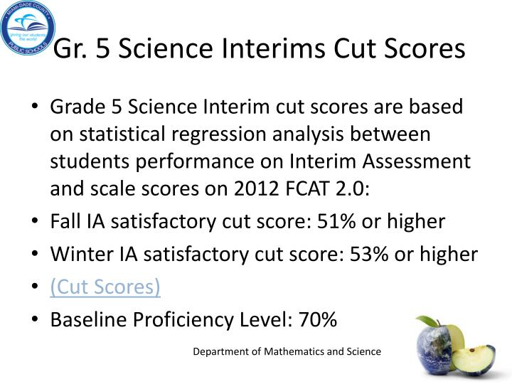 Gr. 5 Science Interims Cut Scores