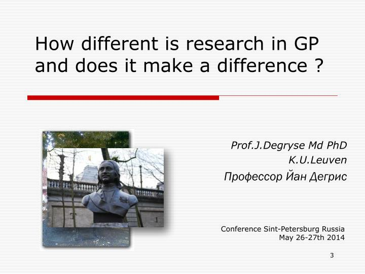 How different is research in gp and does it make a difference
