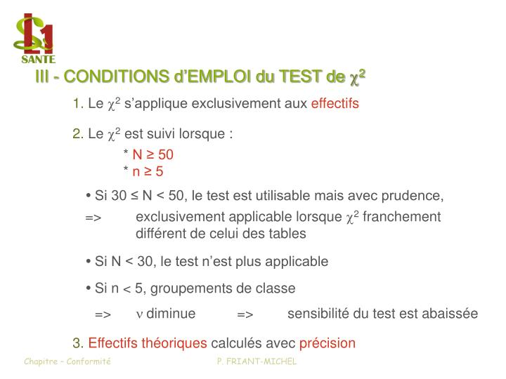 III - CONDITIONS d'EMPLOI du TEST de x2