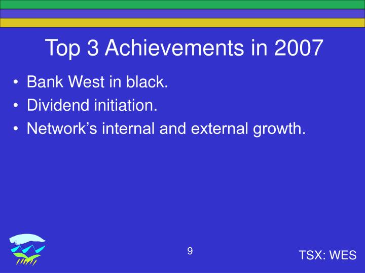 Top 3 Achievements in 2007