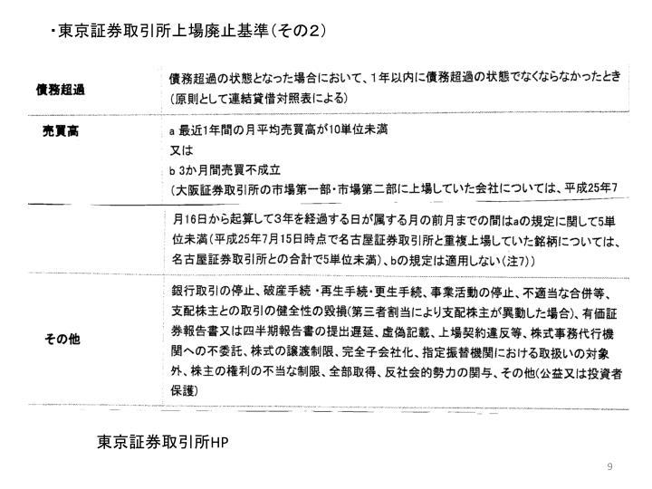 ・東京証券取引所上場廃止基準(