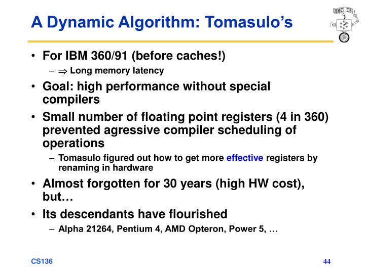 A Dynamic Algorithm: Tomasulo's