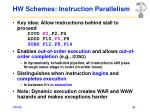 hw schemes instruction parallelism