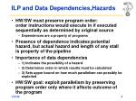 ilp and data dependencies hazards