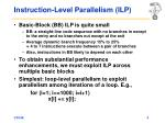 instruction level parallelism ilp