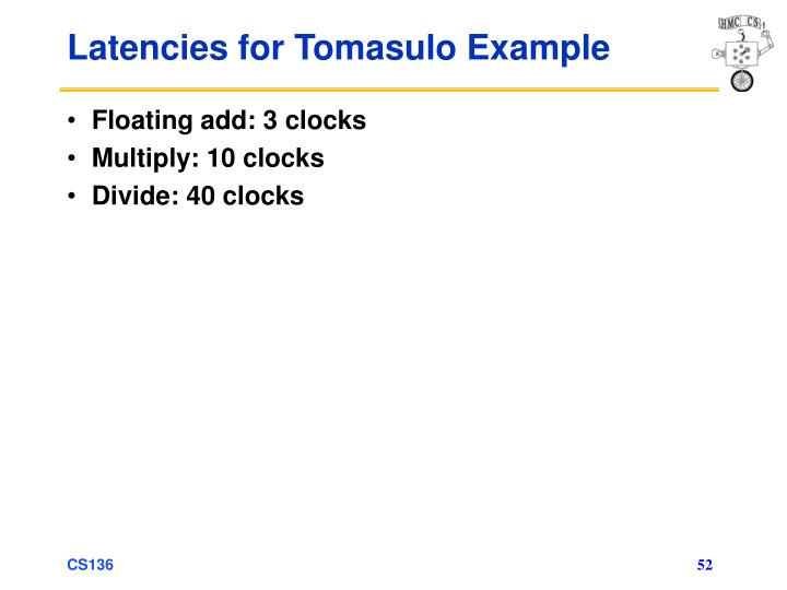 Latencies for Tomasulo Example
