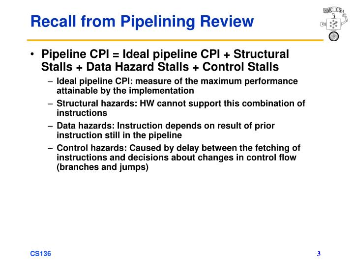 Recall from pipelining review