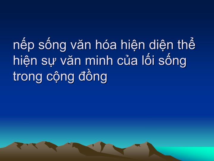 np sng vn ha hin din th hin s vn minh ca li sng trong cng ng