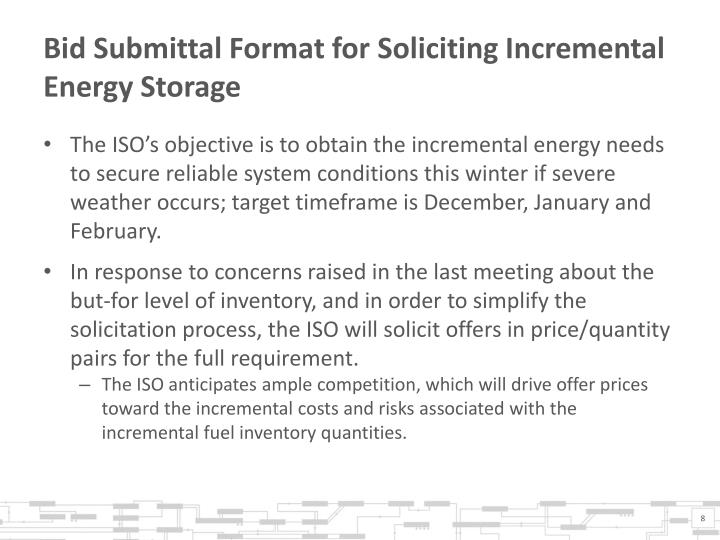 Bid Submittal Format for Soliciting Incremental Energy Storage
