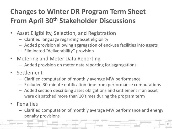 Changes to Winter DR Program Term Sheet From April 30