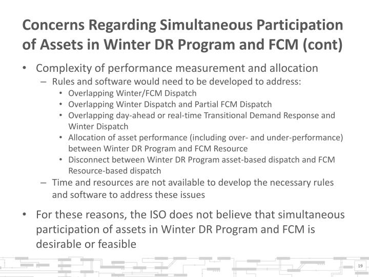 Concerns Regarding Simultaneous Participation of Assets in Winter DR Program and FCM (cont)