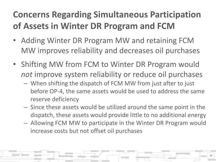 Concerns Regarding Simultaneous Participation of Assets in Winter DR Program and FCM