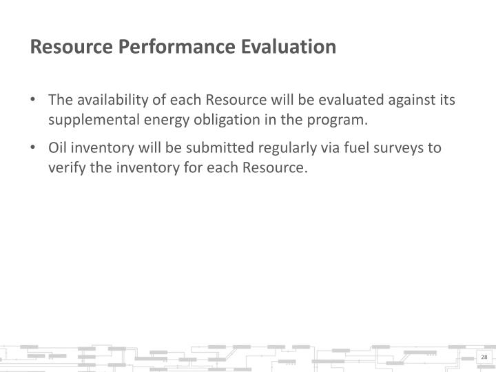 Resource Performance Evaluation