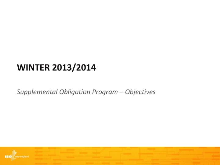 Winter 2013/2014