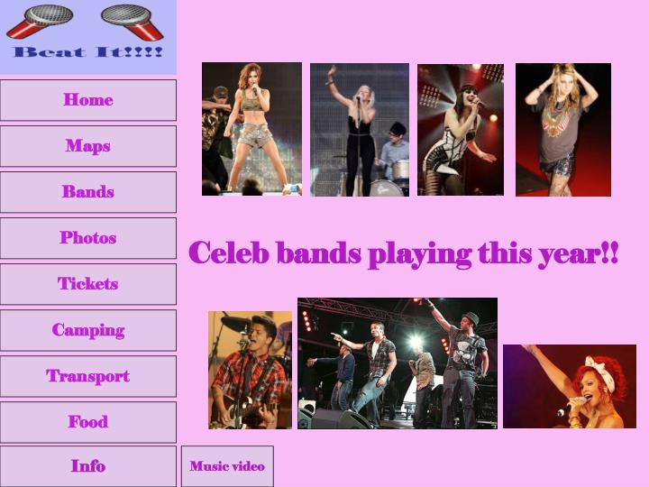 Celeb bands playing this year!!