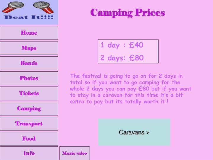 Camping Prices