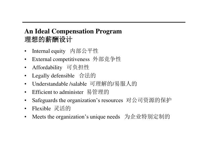 An Ideal Compensation Program