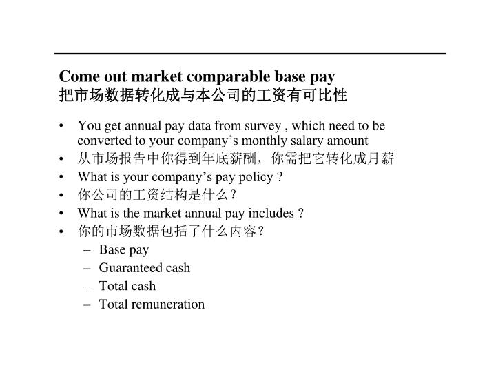 Come out market comparable base pay