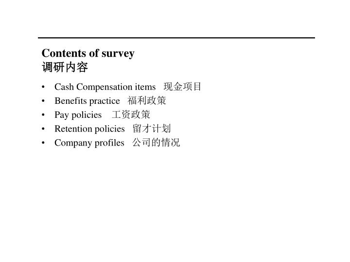 Contents of survey