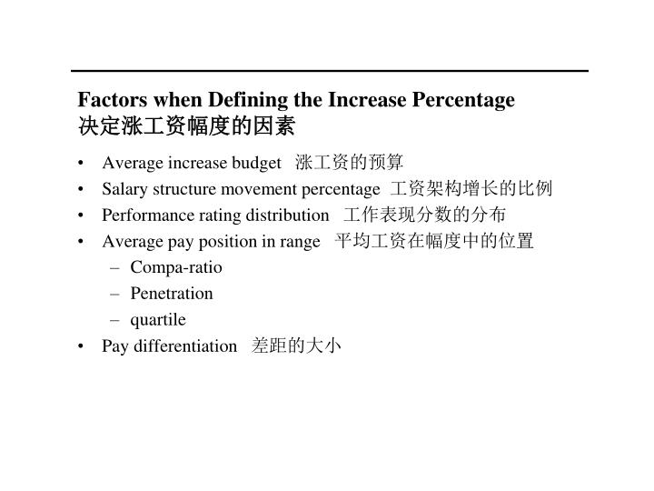 Factors when Defining the Increase Percentage