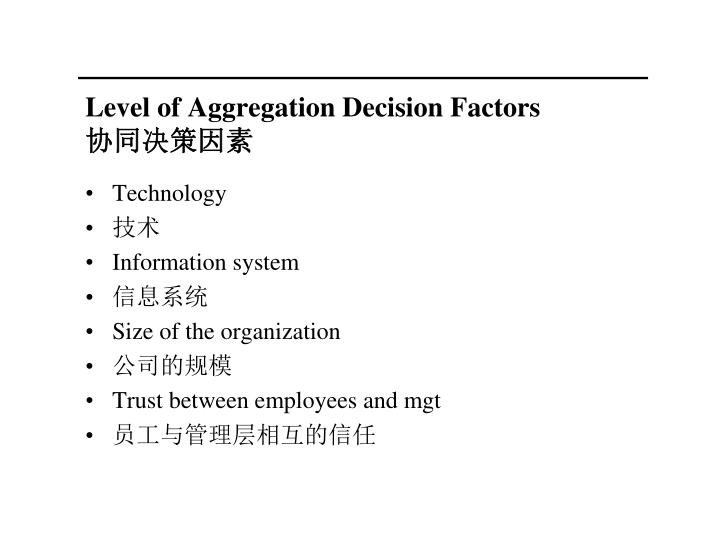 Level of Aggregation Decision Factors