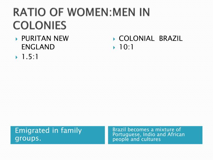 RATIO OF WOMEN:MEN IN COLONIES