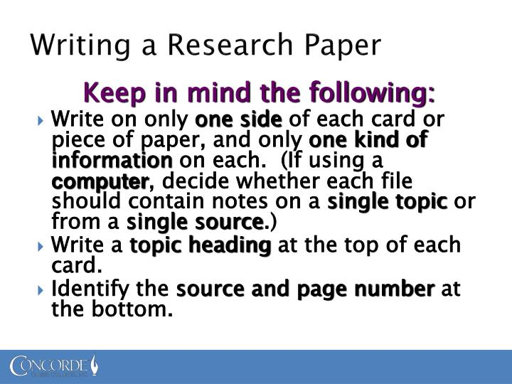 "power point on writing research paper Each student, and ""how to begin writing a research paper"" powerpoint handout with slides from the (no research) or too broad (too much research."