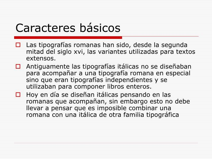 Caracteres básicos