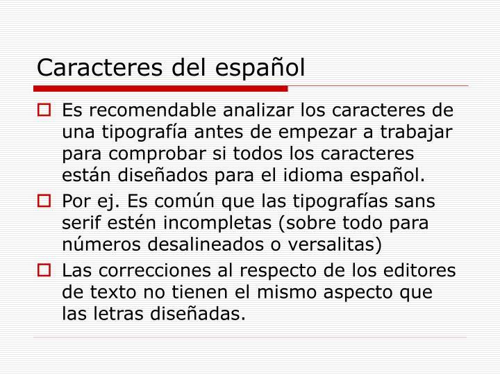 Caracteres del español