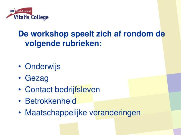 De workshop speelt zich af rondom de volgende rubrieken: