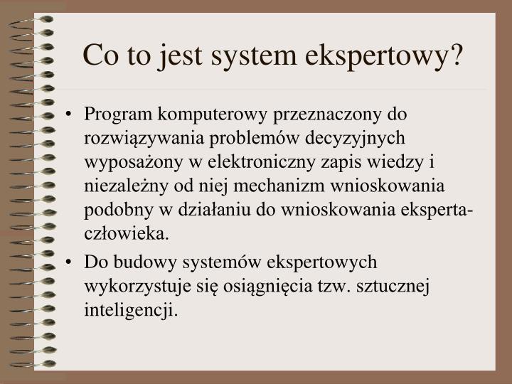 Co to jest system ekspertowy?