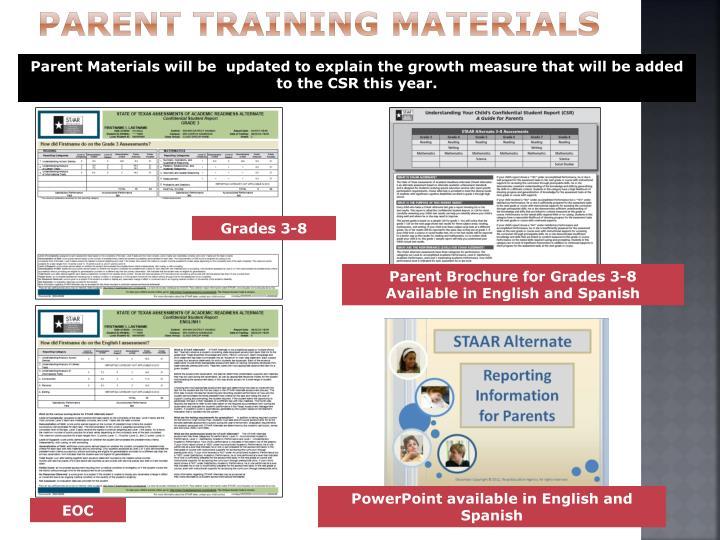 Parent Training Materials