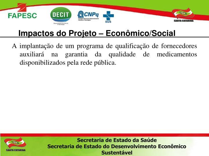 Impactos do Projeto – Econômico/Social