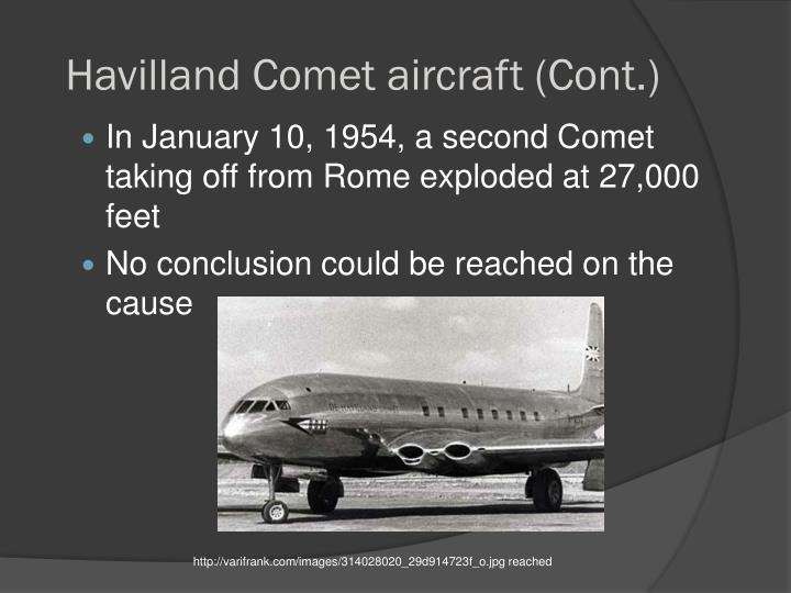 Havilland Comet aircraft (Cont.)