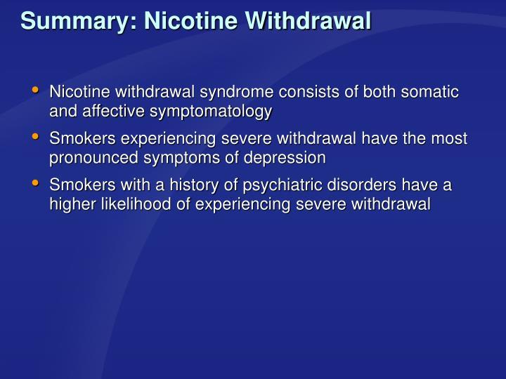 Summary: Nicotine Withdrawal