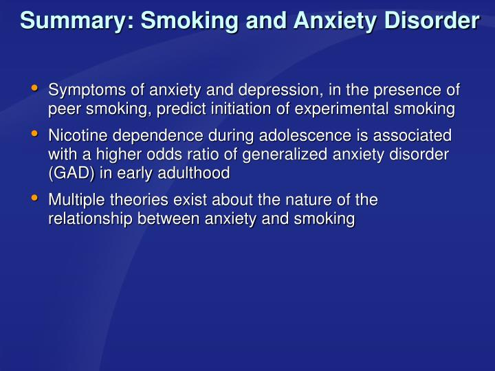 Summary: Smoking and Anxiety Disorder