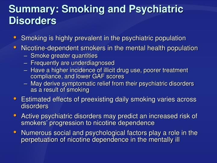 Summary: Smoking and Psychiatric Disorders