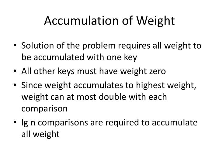 Accumulation of Weight