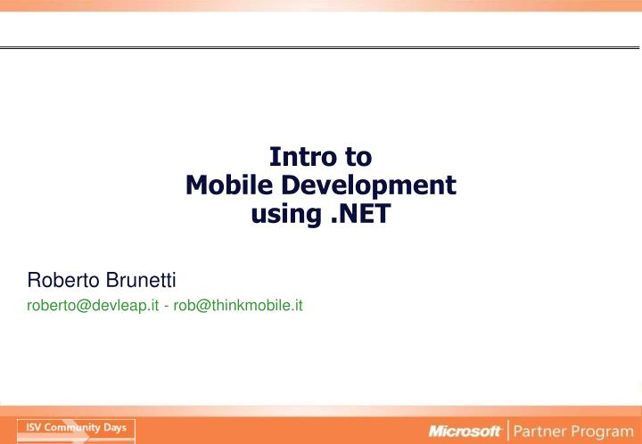 Intro to mobile development using net