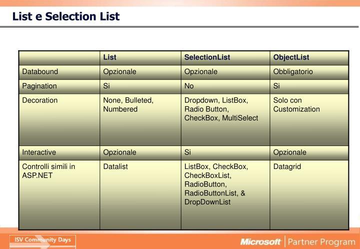 List e Selection List