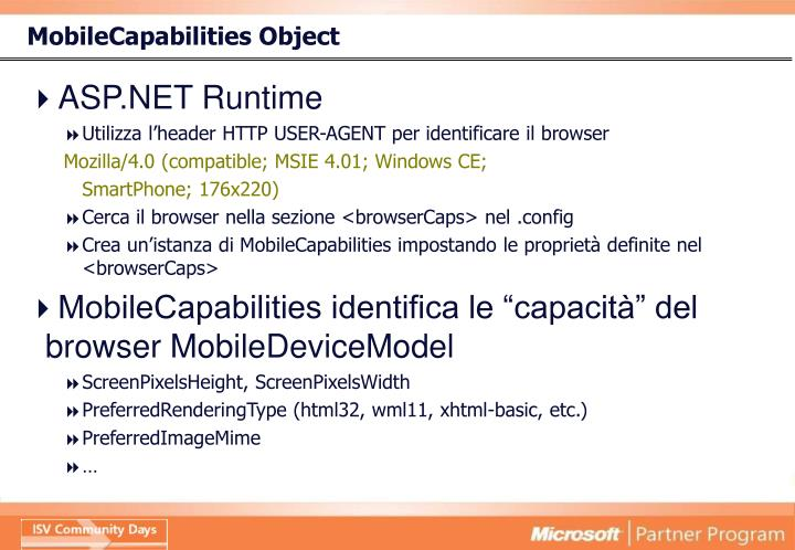 MobileCapabilities Object