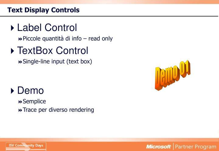 Text Display Controls